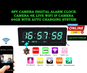 Digital-Wall-Clock-4K-Wifi-Camera-64GB-with-auto-Charging-System