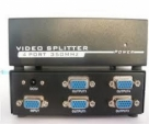 4 Port High Resolution VGA Video Splitter - 350 MHz splits a VGA video source signal to 4 monitors or projectors