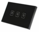 crystal Glass Panel Touch Gang Switch 3 Point