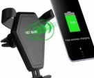 Car Wireless Charger Phone Holder QI Fast Support Auto Phone Induction Charging for Mobile Phone-Black