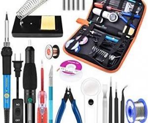 Soldering-Iron-Kit-Electronics-21-in-1-60W-5pcs-Soldering-Iron-Tips-Soldering-Iron-Stand-soldering-Pump-Magnifier-Solder-Wire-Tweezer-Green
