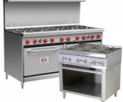 Commercial 4-6 Burner Gas range with Oven