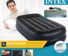 Intex Double Layer Deluxe Air Bed / Inflatable Airbed / Single Size High Rise Air Bed with Built-in Air Pump (16.5 Inch Height)