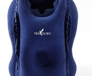 TRAVELSKY-Upgrade-Inflatable-Air-Neck-Folding-Travel-S-Plane-Soft-Rest-Headrest-Chin-13413-Blue
