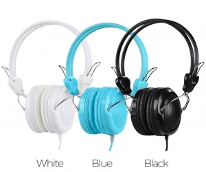 hoco-wired-headphones-W5-Manno-with-mic-adjustable-head-beam-Blue-Color